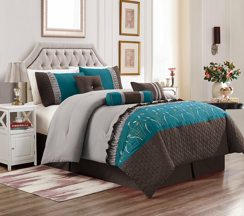 Marcia 7pc Comforter Set 3-Tone braun Teal grau Embroidery Duvet Super Soft