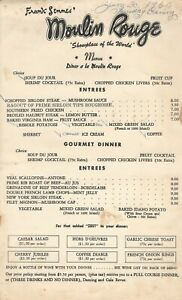 Vintage MOULIN ROUGE Restaurant Menu Frank Semmes' 1960