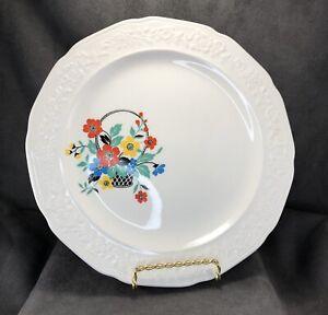 Crown-Potteries-USA-Floral-Embossed-Dinner-Plate-Flower-Basket-552-Vintage-MCM