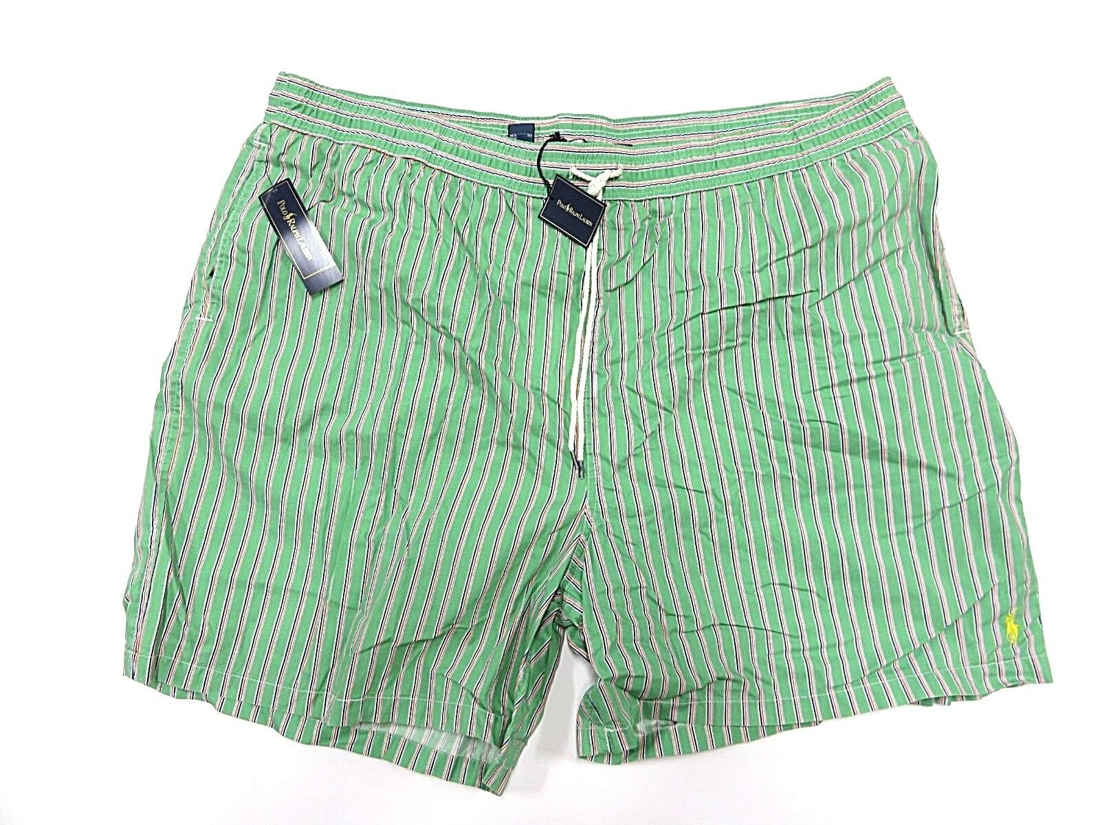 NWT Polo By Ralph Lauren Green Striped Swim Trunks Adult Men's Size 4XB