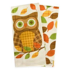 Thanksgiving-Plaid-Owl-Dish-Kitchen-Towels-Set-of-2-100-Cotton-16x26-034