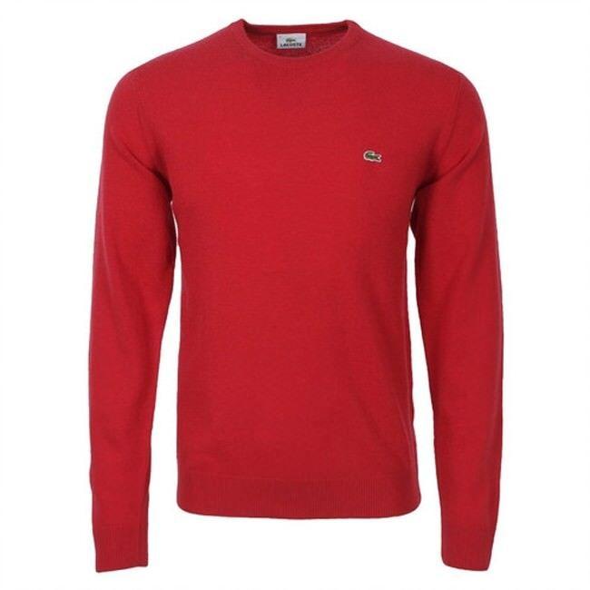 Lacoste Abbigliamento LACOSTE MAGLIONE LANA GIROCOLLO ROSSO AH2995-69T Rosso mod