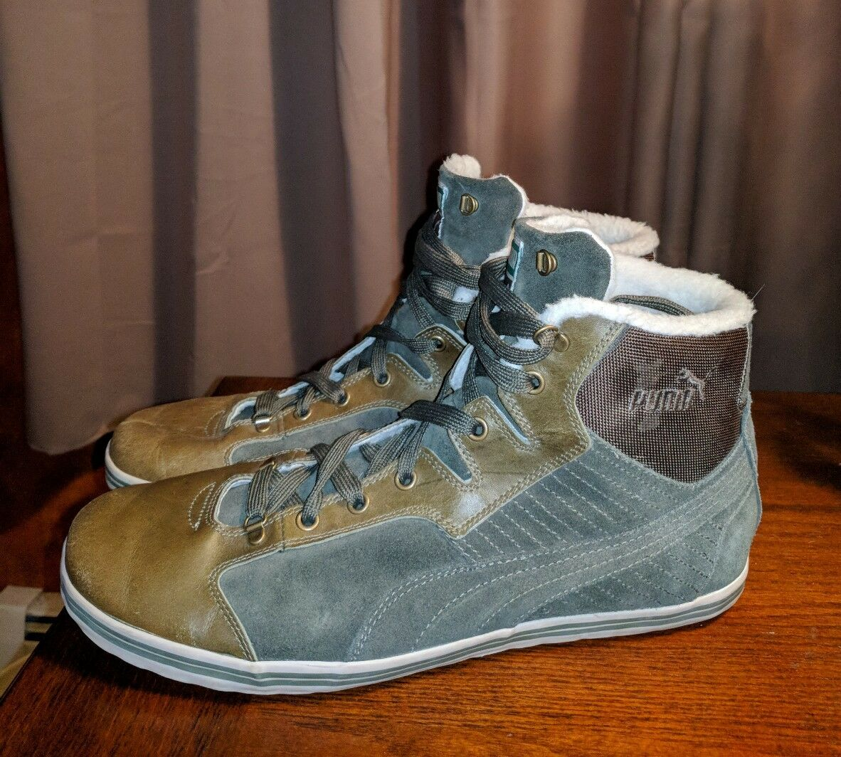 PUMA ARMY GREEN SUEDE LEATHER FLEECE LINED HIGH TOPS SNEAKERS 12 M