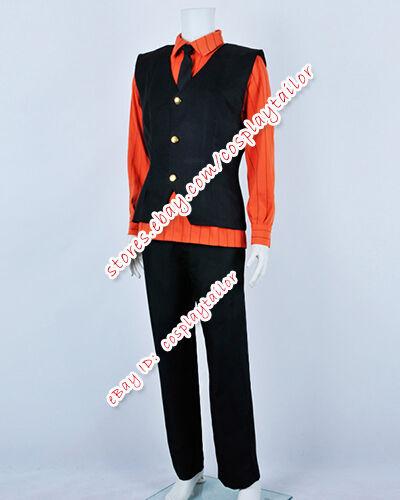 One Piece Sanji Cosplay Black Vest Stripes Orange Shirt Costume Outfit Clothing