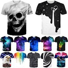 Space Galaxy Skull 3D Print Womens Mens Casual T-Shirt Short Sleeve Graphic Tee