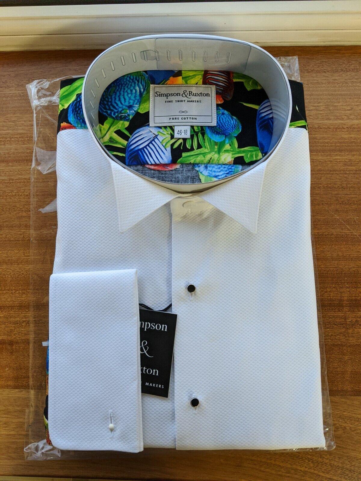 Simpson & Ruxton Wing Collar Fish Luxury Fancy Party Evening Dress Shirt
