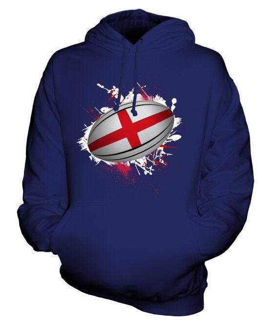 ENGLAND RUGBY BALL SPLATTER UNISEX HOODIE TOP GIFT WORLD CUP SPORT