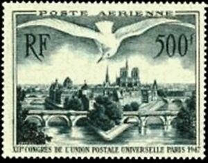 FRANCE-STAMP-TIMBRE-AERIEN-20-034-UPU-PONTS-PARIS-MOUETTE-500F-034-NEUF-xx-LUXE-R19F