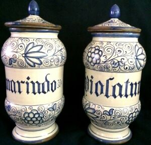 "Details about 2 Italian, COVERED KITCHEN CANISTERS.11.5"", Pottery. Hand  Painted,Hand Crafted."