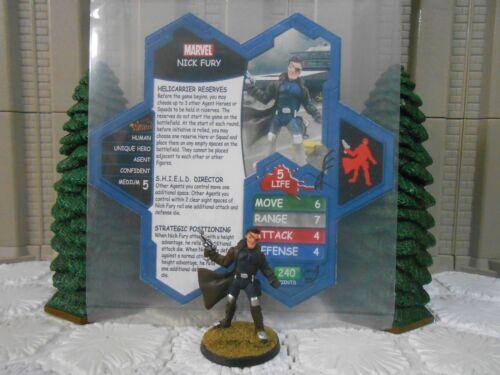 Heroscape Custom Nick Fury Double Sided Card & Figure w/ Sleeve Marvel SHIELD