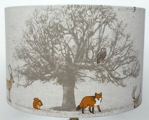Fryetts woodland tree stag and fox and owl lampshade table lamp image is loading fryetts woodland tree stag and fox and owl aloadofball Choice Image