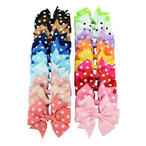 Pack-of-20-Girls-Hair-Pins-Polka-Dot-Mixed-Grosgrain-Ribbon-Bows-Clips-Headwear