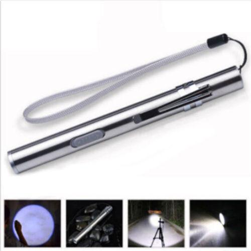 Mini Pocket Pen Flashlight Pencil Torch LED USB Rechargeable Light Gift tools