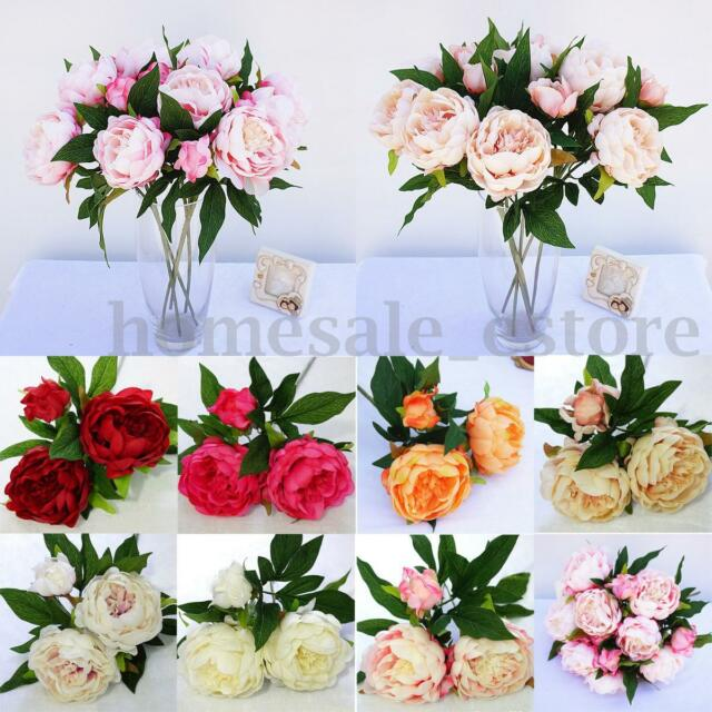 Artificial Silk 3 Heads Peony Flowers Bridal Hydrangea Party Wedding Decor Home