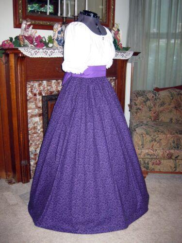 Western Civil War Pioneer Dress Gown with Free Reticule; Sz XS-2XL Victorian