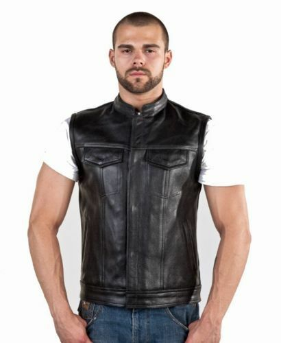 Motorcycle & Biker Club Vest &Concealed Carry Vest Leather Split Cowhide leather
