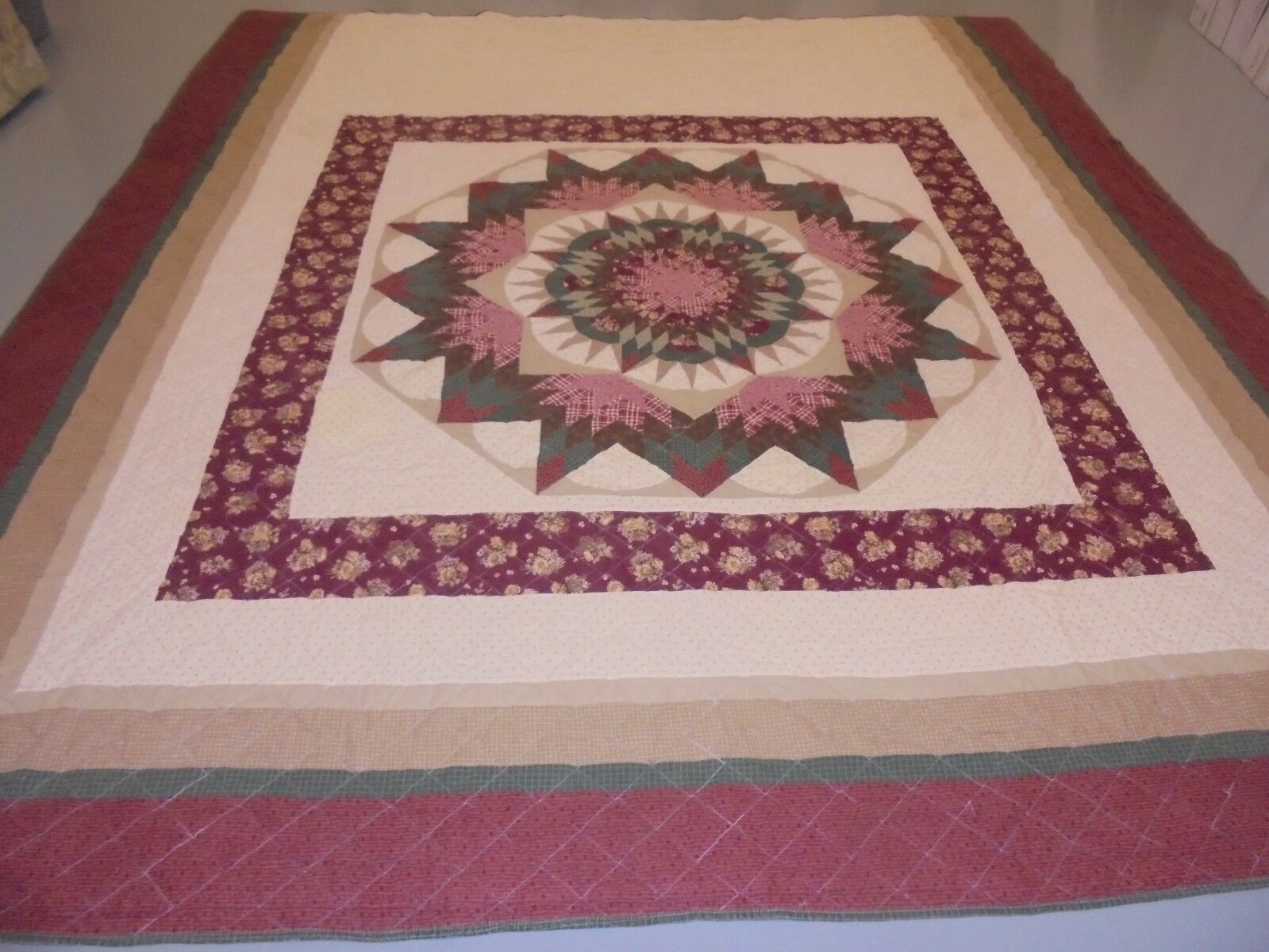 Pretty Maroon & Beige Exploding Star w Frames Quilt