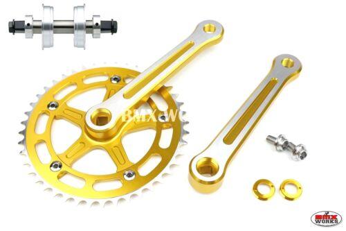 ProMX BMX 3 Piece Aluminium Cranks Set Gold With Machined Face /& YST Sealed BB