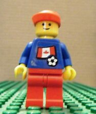 LEGO MINI–SPORTS–SOCCER–CANADA, No #, BLUE, RED LEGS, (Sticker)–GENTLY USED