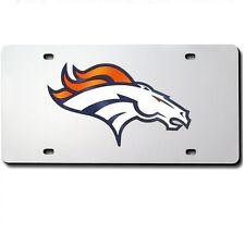 Denver Broncos Mirrored Laser Cut License Plate Laser Tag