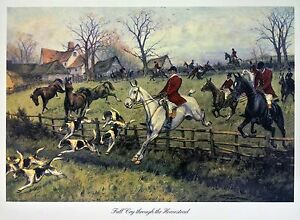 Reproduction Landscape Print British Foxhunt with Horses, Riders, and Dogs