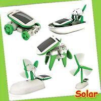 6 IN 1 Popular Boat Dog Educational Car DIY Fan Power Solar Toys Plane Robot