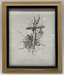 Wayside Cross Sketch Dorothy Peterson Original 4/10 Christian Art Framed Signed