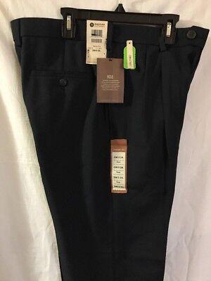 Navy, 36×30 Haggar Men's  eCLo Stria Classic-Fit Flat-Front Dress Pants