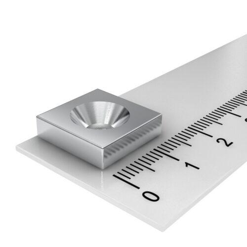 10x NEODYM QUADER MAGNET 15x15x4 mm MIT 4.5 mm BOHRUNG SENKUNG ZUM ANSCHRAUBEN