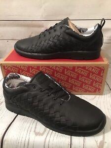 6950da2157a962 Vans Tesella OTW Black Leather Woven Checker (3D Aloha) Ultracush ...