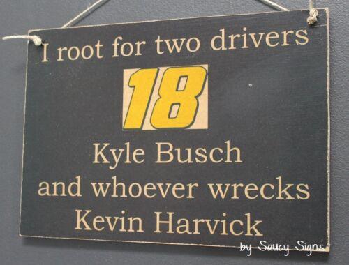 Kyle Busch wrecks Kevin Harvick Driver Sign Racing Bar Man Cave
