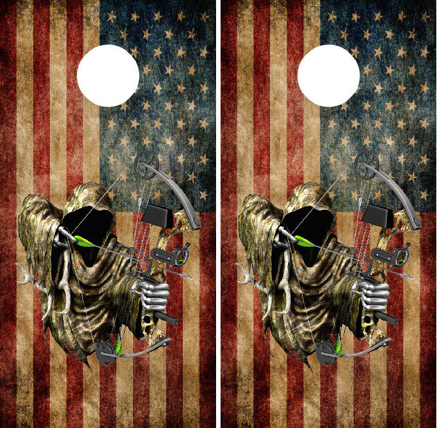 Grim Reaper Bow Hunter American Flag Cornhole Wraps Vinyl  Decals Bag Toss Game