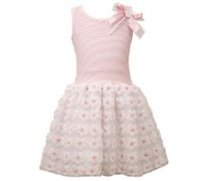 2fe30ef12 Bonnie Jean Girls Pink Bonaz Flower Spring Summer Mesh Tutu Dress 2T ...
