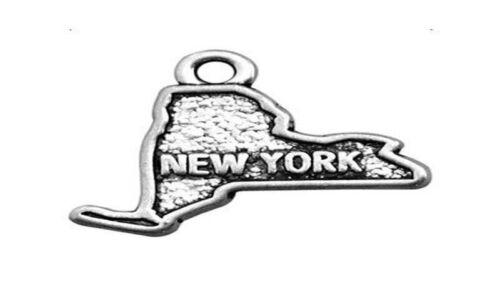 20PCS//60Pcs Antiqued Silve Metal NEW YORK US States Map Charms #91912