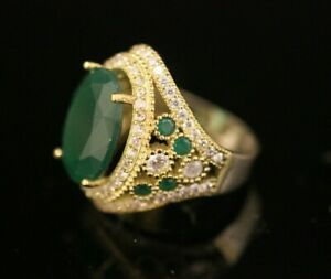 Turkish-Handmade-Jewelry-Sterling-Silver-925-Emerald-Ring-Ladies-7-8-9