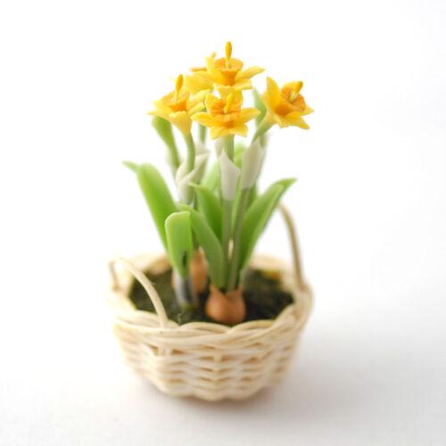 Narcisos en la canasta daffodils en Basket muñecas Tube Dollhouse 1:12 tipo d1122