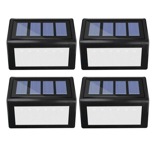 1//4pcs Solar 3//6LED Stainless Steel Garden Path Patio Step Stair Deck Lamp Light