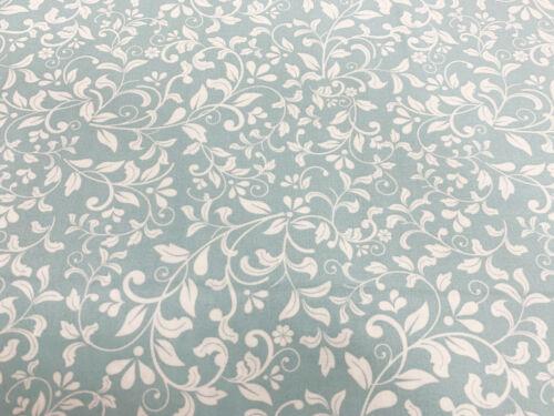 JLK0101 Craft Metro de Tela de Algodón ~ ~ tela floral primavera aqua azul y Marfil