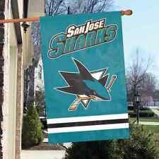 """NHL San Jose Sharks 2 sided 44"""" x 28"""" Applique & Banner, Flag.  NHL"""