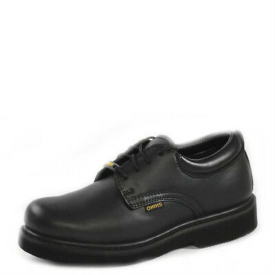 Rhino 40S01 Black Leather Steel Toe Postman Oxford Slip Resistant  Work Shoes
