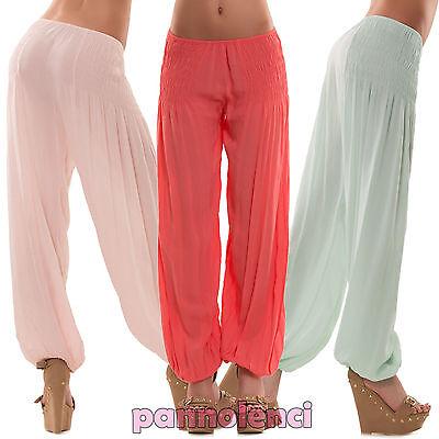 Pantaloni donna arricciati linea fluida cotone sarouel turca AS-5370