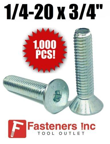 """Qty 1000 1//4-20 X 3//4/"""" Flat Head Cap Screw Coarse Thread Socket Zinc Plated"""