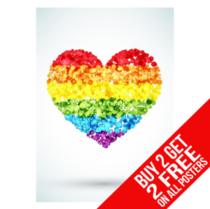 BUY 2 GET ANY 2 FREE RAINBOW LOVE HEART FLAG LGBT GAY PRIDE POSTER PRINT A3 A4