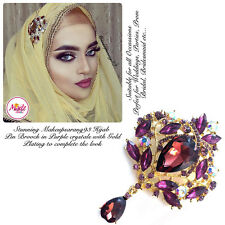 Diamante Drop Brooch Hijab Pins Scarf bridal wedding Jewellery Gold Purple 1