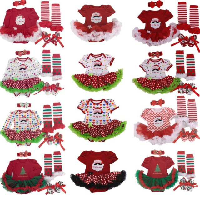 Baby Girl Infant Party Outfits Tutu Newborn Romper X-mas Clothing Sets Dress