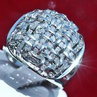 14k white gold ring 3.00ct natural diamond size 11.5 vintage handmade 20.0g Gab9