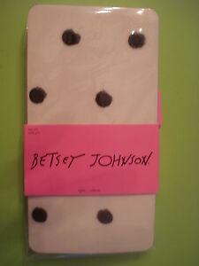 BETSEY-JOHNSON-HOLIDAY-TIGHTS-SHEER-FUZZY-FLOCKED-POLKA-DOT-S-M-NEW