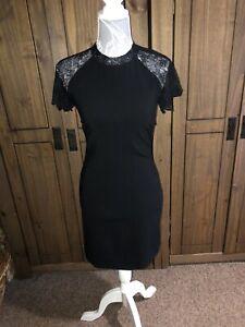 Zara-Damas-Vestido-Negro-impresionante-tamano-mediano-tamano-aprox-10-ajuste-favorecedor