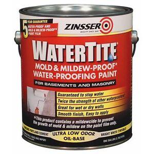 Zinsser Watertite Oil Based Mold Mildew Waterproofing Paint White Gal 5 Gal Ebay