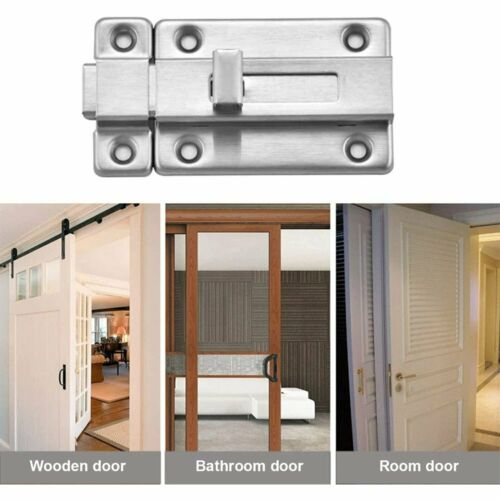 "Bathroom Shed Slide Door Bolt Toilet Sliding Lock//Catch//Latch Dead Lock 3/""//4/"""